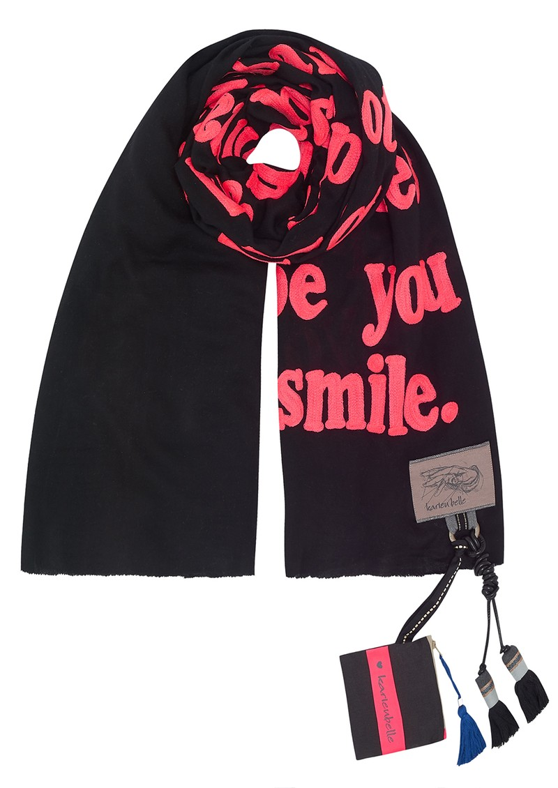 Poetry Pink Scarf - Black & Pink main image