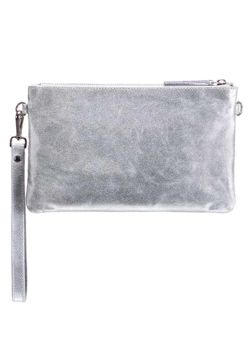 NOOKI D'Souza Leather Clutch Bag - Silver main image