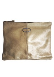 Sous Les Paves Sunrise Metallic Clutch Bag - Gold & Cobra