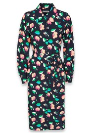 ESSENTIEL ANTWERP Tong Floral Midi Shirt Dress - Denim Blue