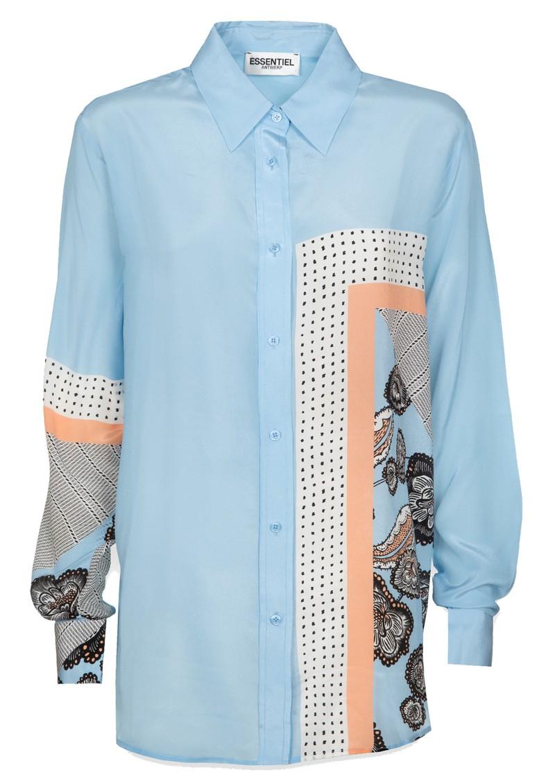 ESSENTIEL ANTWERP Tornado Silk Oversize Shirt - Combo 2 & White main image