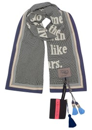KARIEN BELLE Poetry Trim Printed Scarf - Navy, Gold & White