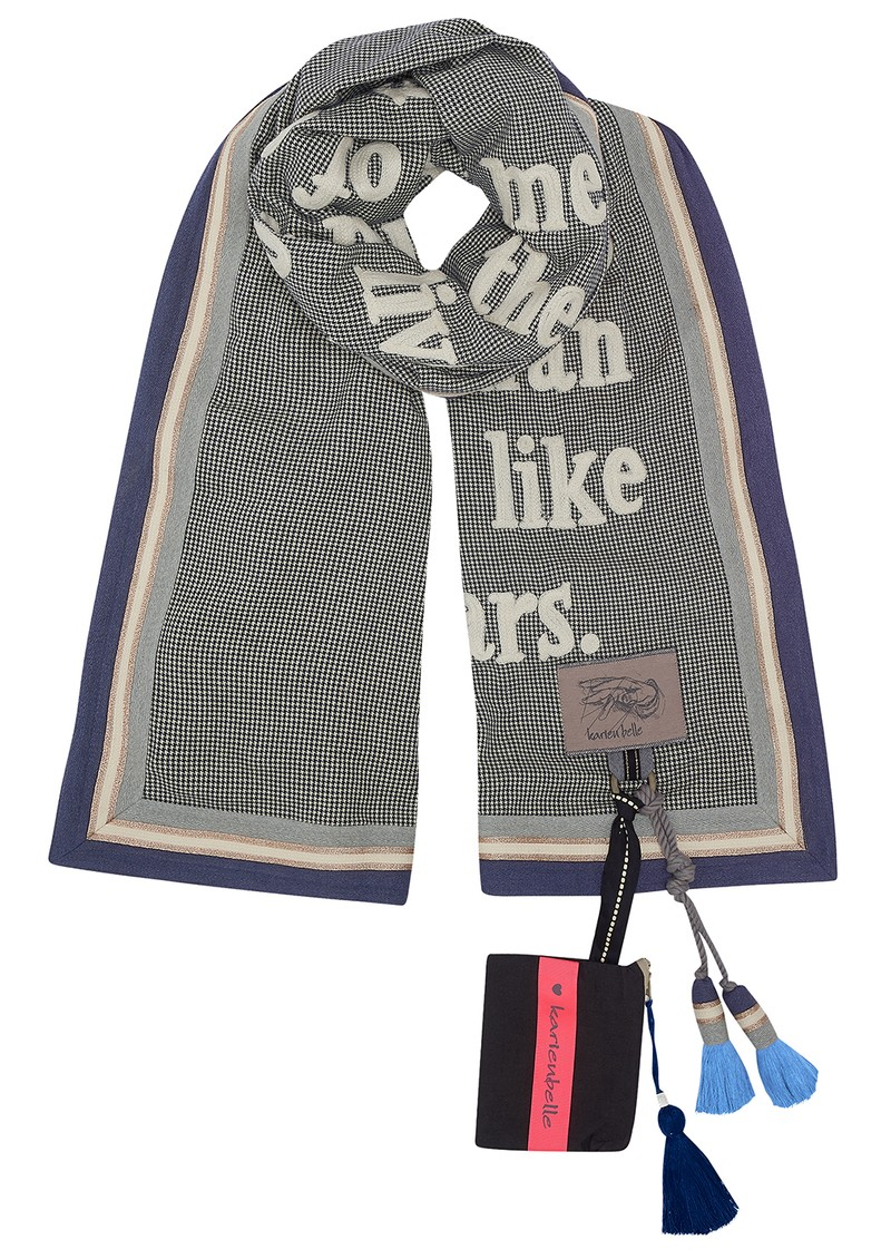 KARIEN BELLE Poetry Trim Printed Scarf - Navy, Gold & White main image