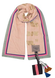 KARIEN BELLE Poetry Trim Printed Scarf - Dusty Pink & Gold