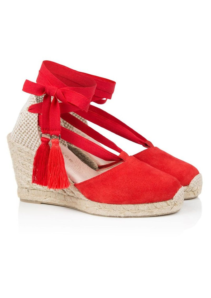 AIR & GRACE Shimmie Espadrille Suede Wedge - Red main image
