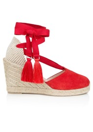 AIR & GRACE Shimmie Espadrille Suede Wedge - Red