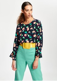 ESSENTIEL ANTWERP Tiesto Floral Top - Denim Blue
