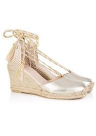 AIR & GRACE Shimmie Espadrille Leather Wedge - Gold