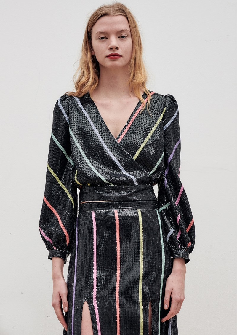Kendall Sequin Top - Black Stripe main image