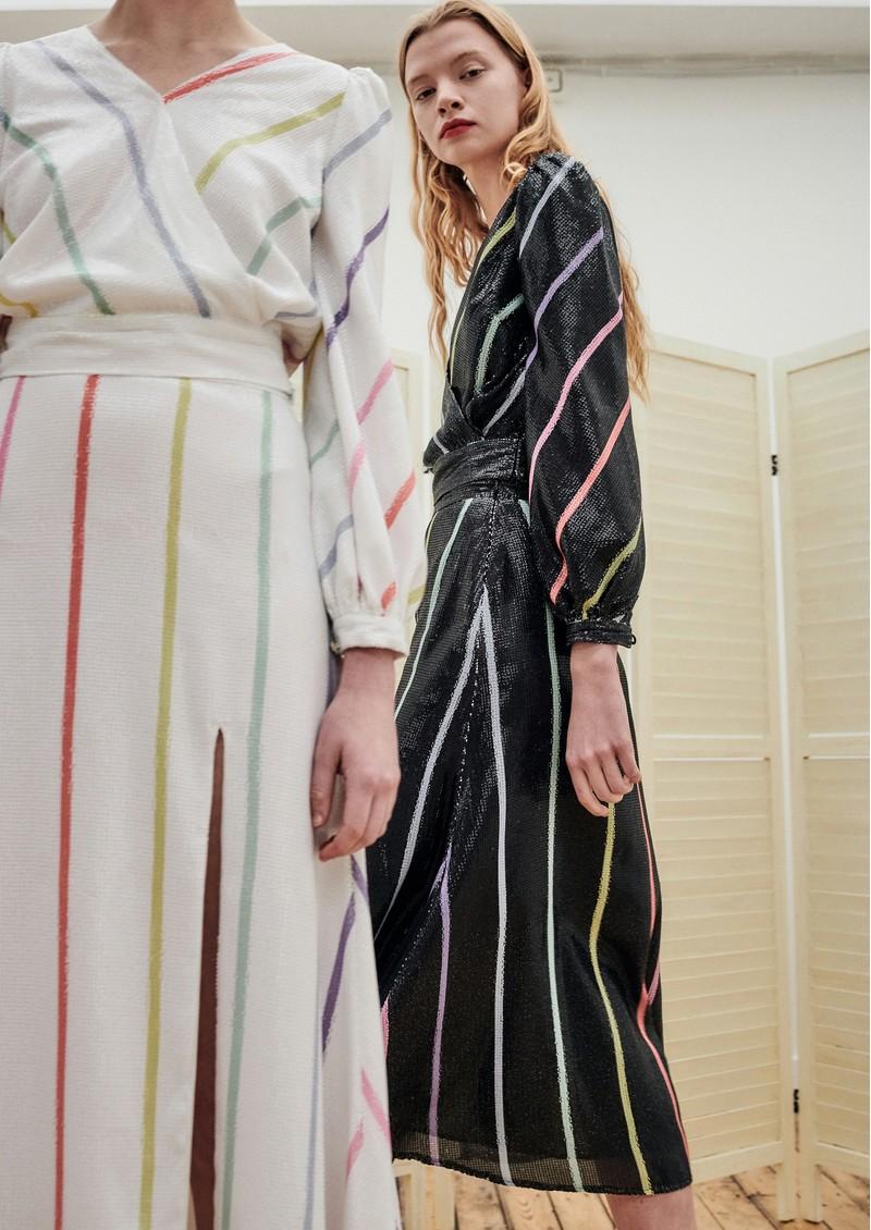 OLIVIA RUBIN Astrid Sequin Skirt - Black Stripe main image