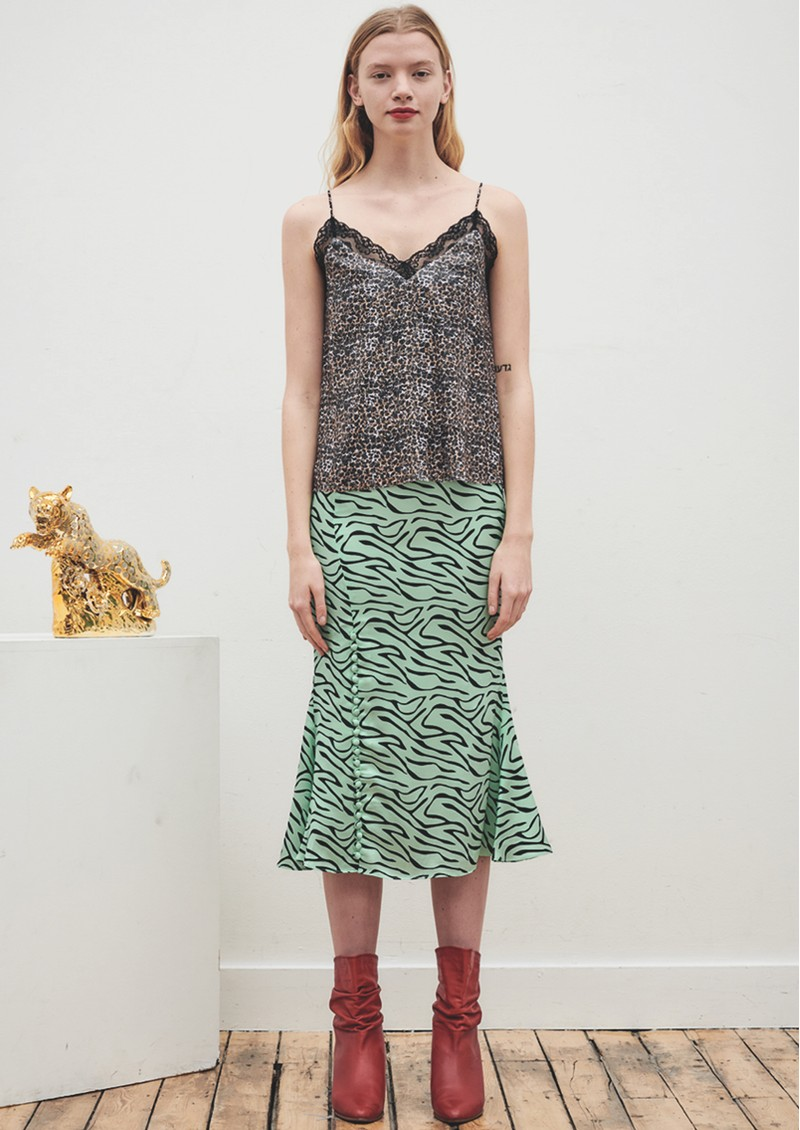 Hanna Silk Slip Skirt - Mint Zebra main image