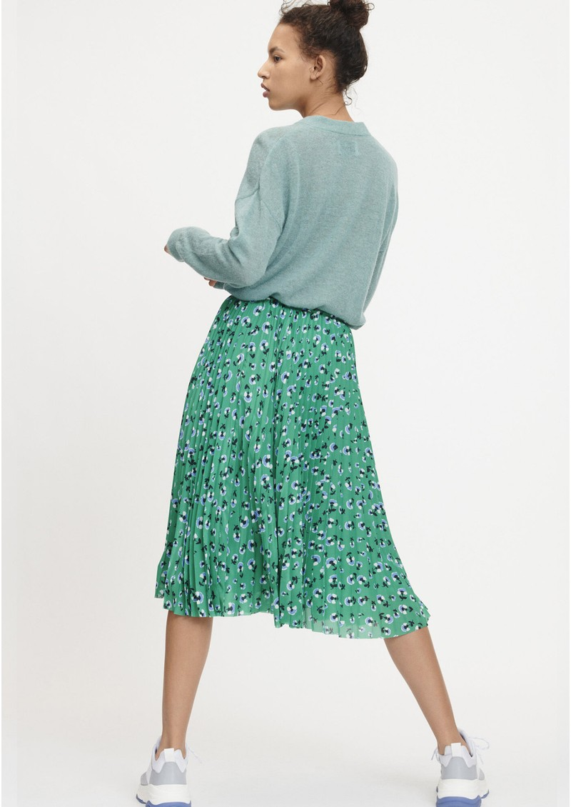 Juliette Pleated Midi Skirt - Green Carnation main image
