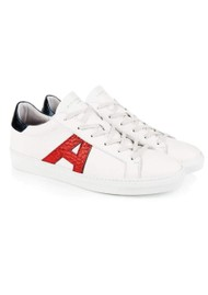 AIR & GRACE Signature Cru Trainers - White, Red & Blue