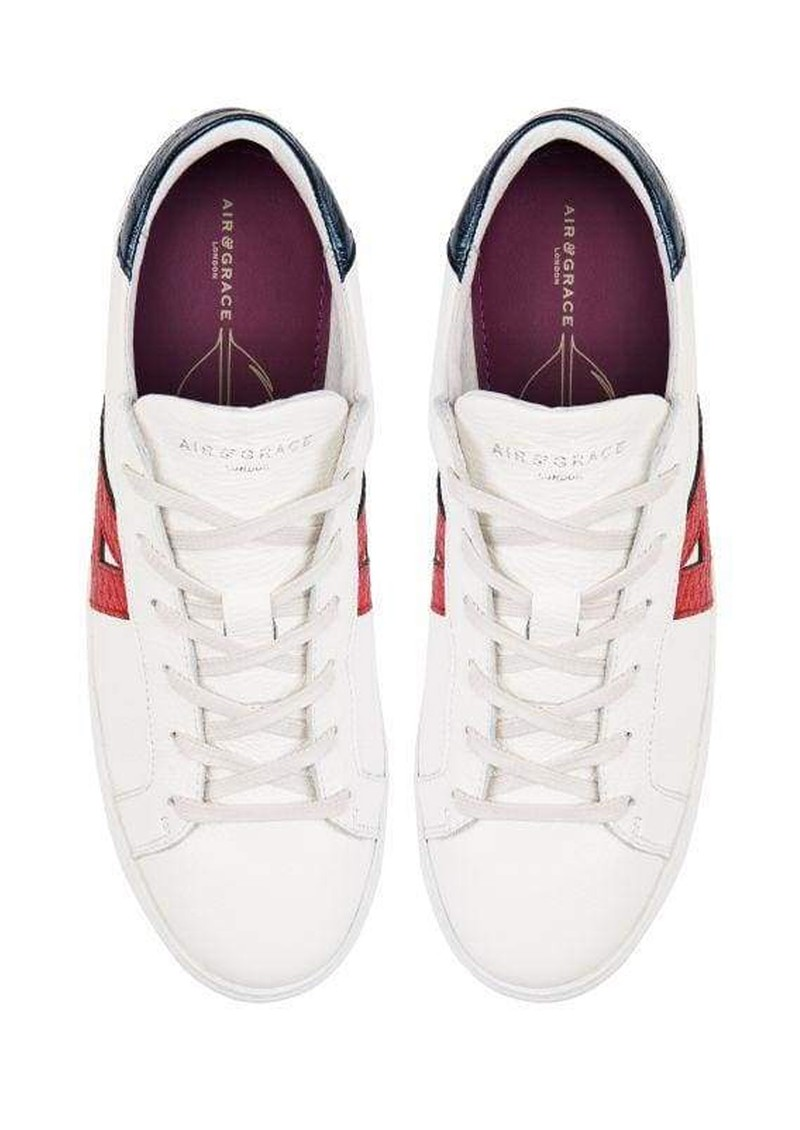 AIR & GRACE Signature Cru Trainers - White, Red & Blue main image