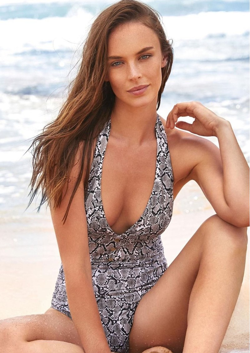 Mombasa Button Halter One Piece - Moz Print main image