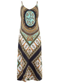 Hale Bob Strappy Printed Silk Dress - Turquoise & Gold