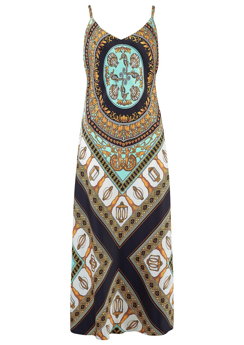 Hale Bob Strappy Printed Silk Dress - Turquoise & Gold main image