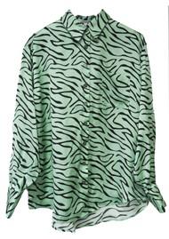 OLIVIA RUBIN Iris Silk Shirt - Mint Zebra