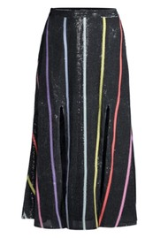 OLIVIA RUBIN Astrid Sequin Skirt - Black Stripe