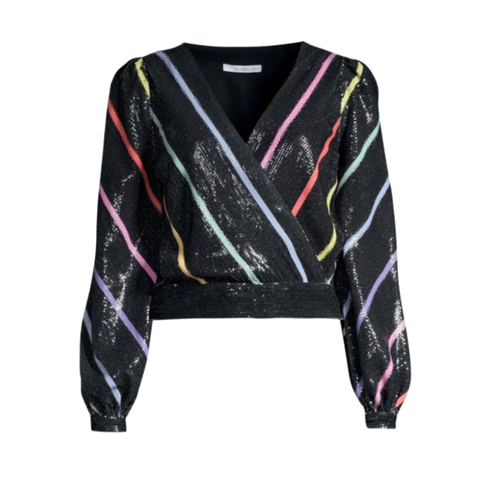 Kendall Sequin Top - Black Stripe