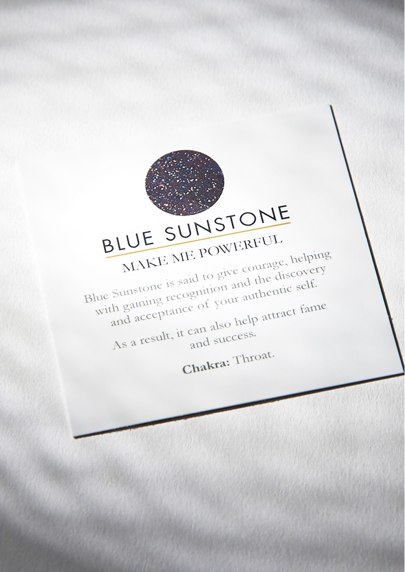 SVP STELLAR MOON ADJUSTABLE RING - GOLD & BLUE SUNSTONE main image