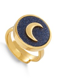 SVP STELLAR MOON ADJUSTABLE RING - GOLD & BLUE SUNSTONE