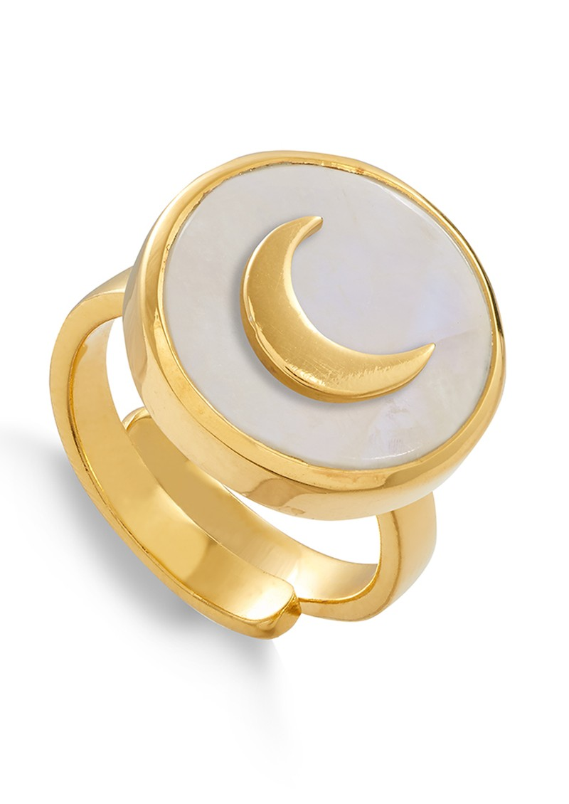 SVP STELLAR MOON ADJUSTABLE RING - GOLD & RAINBOW MOONSTONE main image