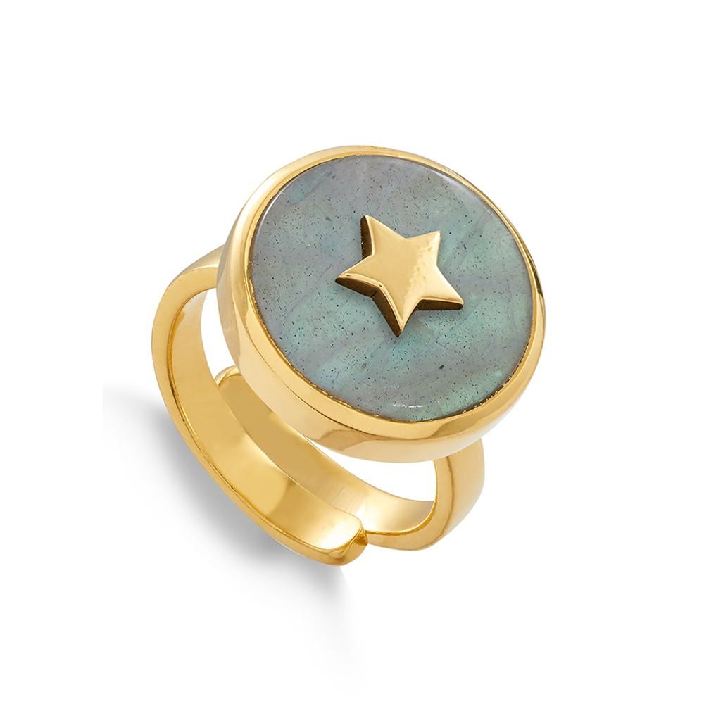 STELLAR STAR ADJUSTABLE RING - GOLD & LABRADORITE