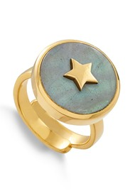 SVP STELLAR STAR ADJUSTABLE RING - GOLD & LABRADORITE