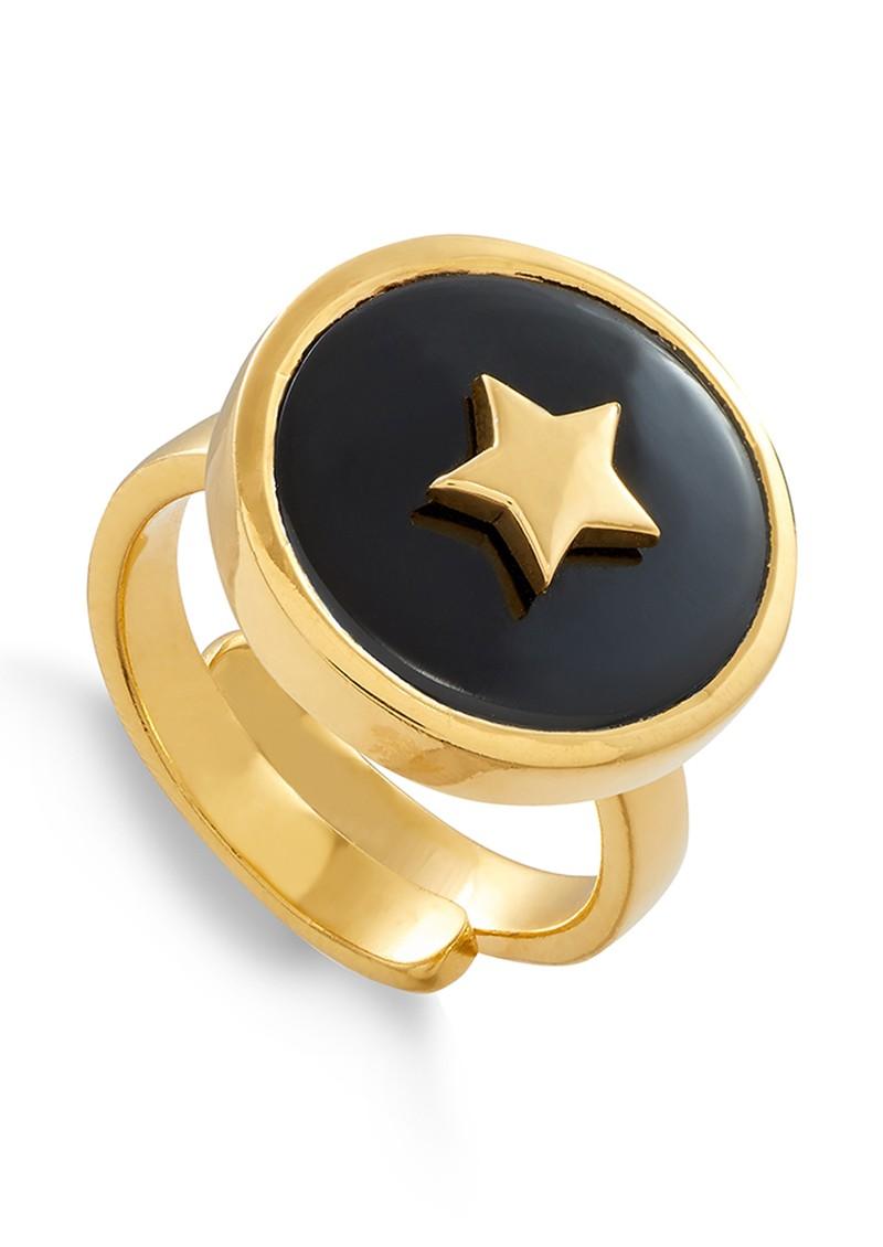 SVP STELLAR STAR ADJUSTABLE RING - GOLD & BLACK QUARTZ main image