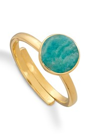SVP Starman Adjustable Ring - Gold & Amazonite