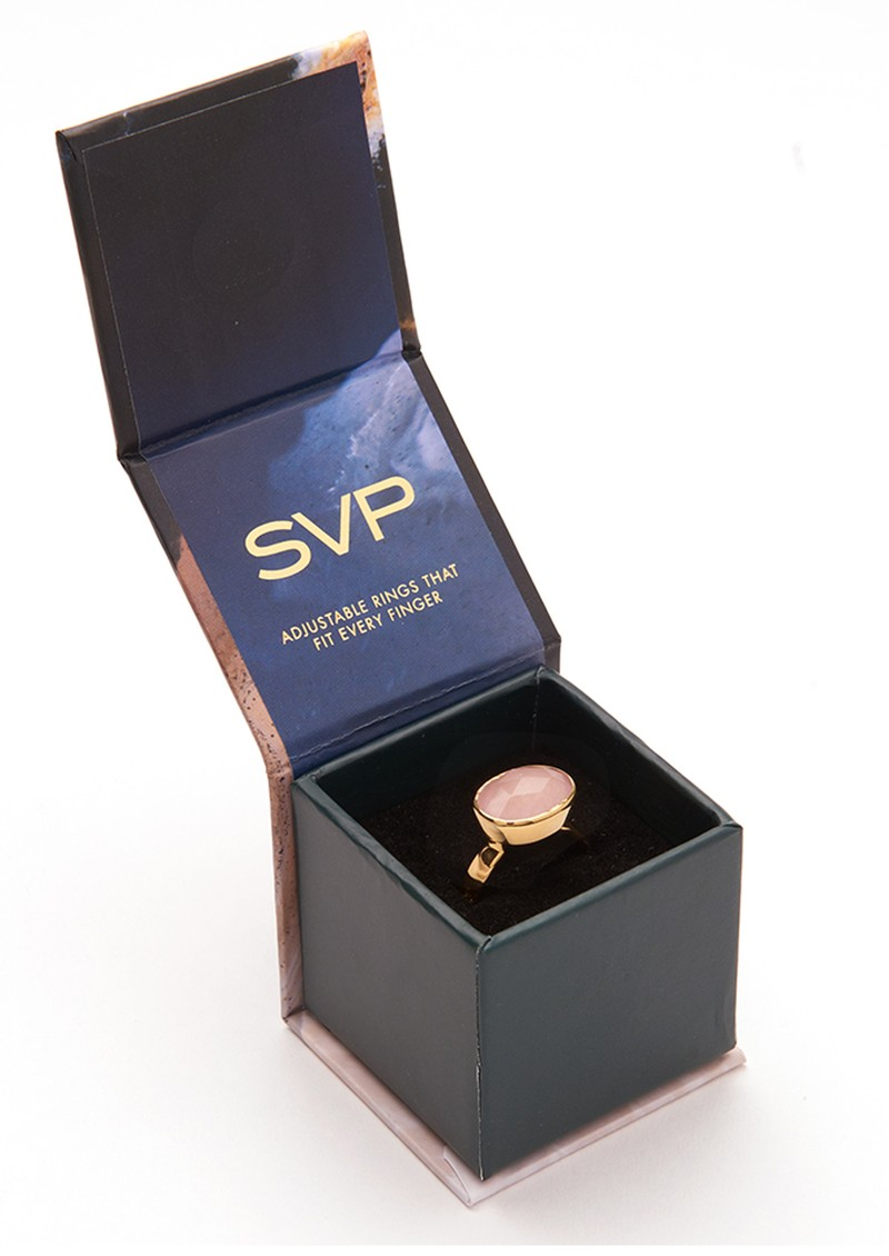 SVP Starman Adjustable Ring - Gold & Rainbow Moonstone main image