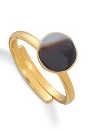 SVP Starman Adjustable Ring - Gold & Striped Black Agate