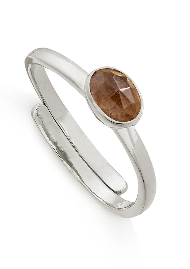 SVP Atomic Micro Adjustable Ring - Silver & Smokey Quartz main image