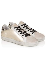 AIR & GRACE Cru Metallic Trainer - Gold & Dotty