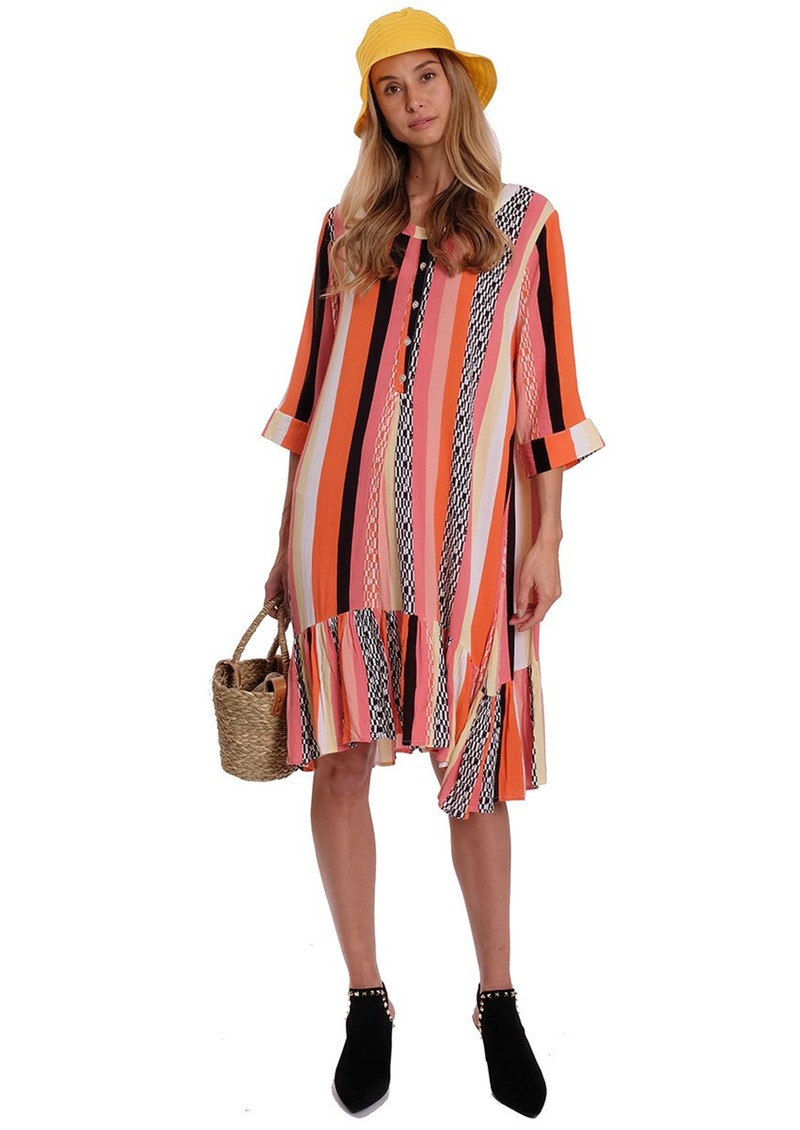 EITHER OR Carolay Printed Dress - Graphic Coral main image
