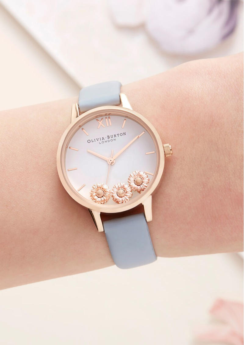 Dancing Daisy Watch - Chalk Blue & Rose Gold main image