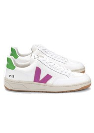 VEJA V-12 Mesh Trainers - White, Ultra Violet & Granny