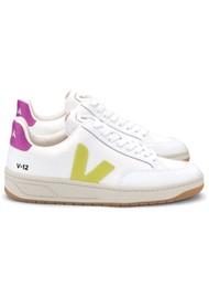 VEJA V-12 Mesh Trainers - White, Jaune & Ultra Violet