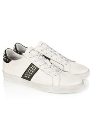 AIR & GRACE Cru Studded Trainer - White & Black