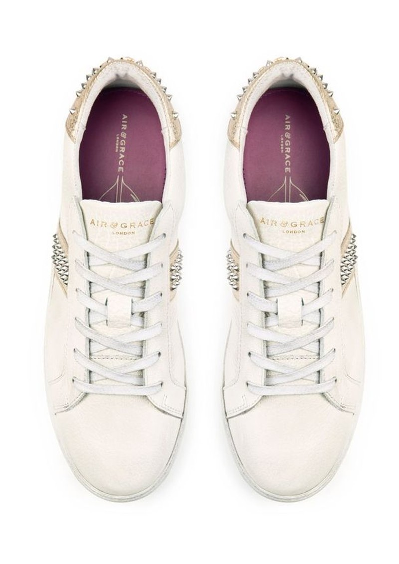AIR & GRACE Cru Studded Trainer - White & Gold main image