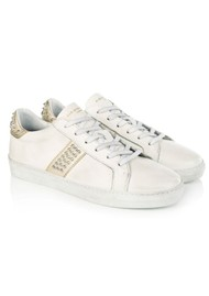 AIR & GRACE Cru Studded Trainer - White & Gold