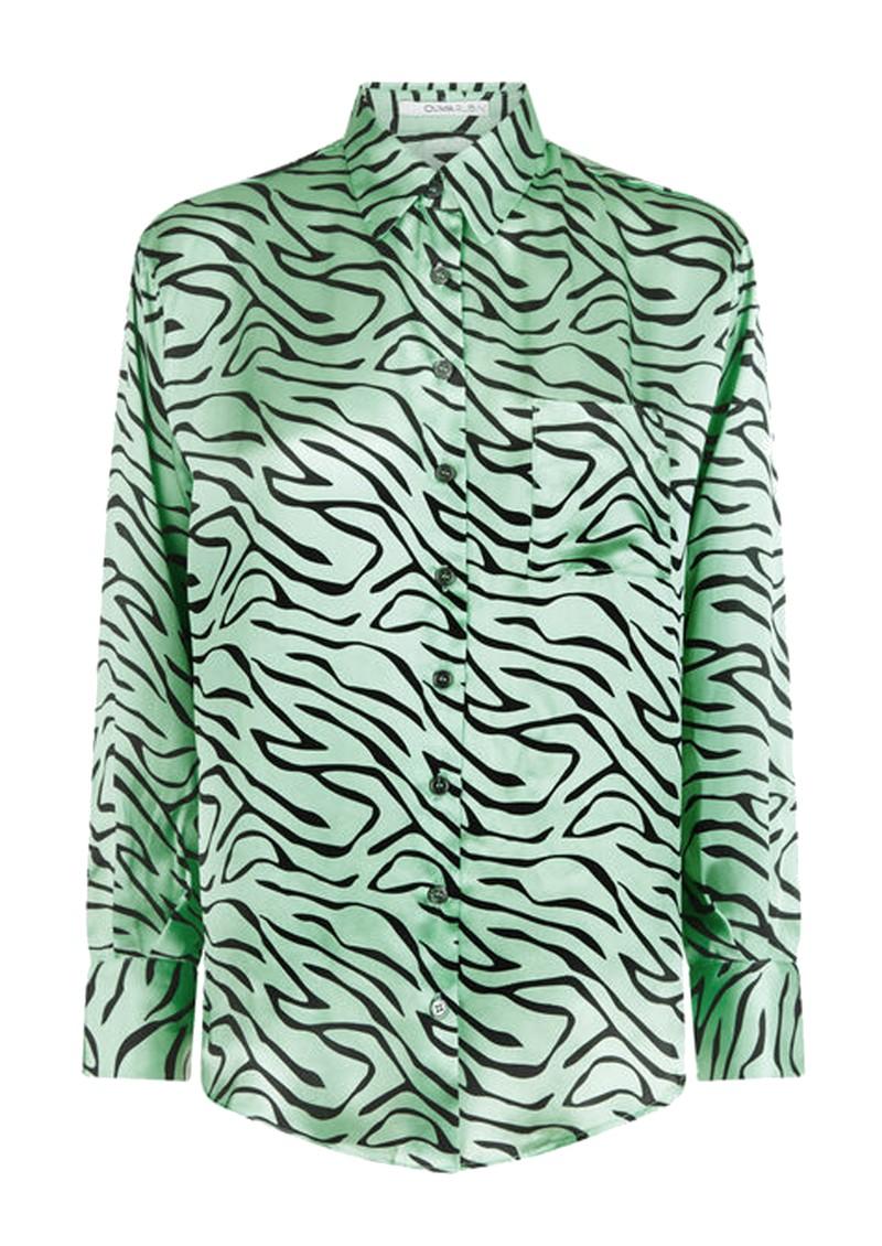 OLIVIA RUBIN Iris Silk Shirt - Mint Zebra main image