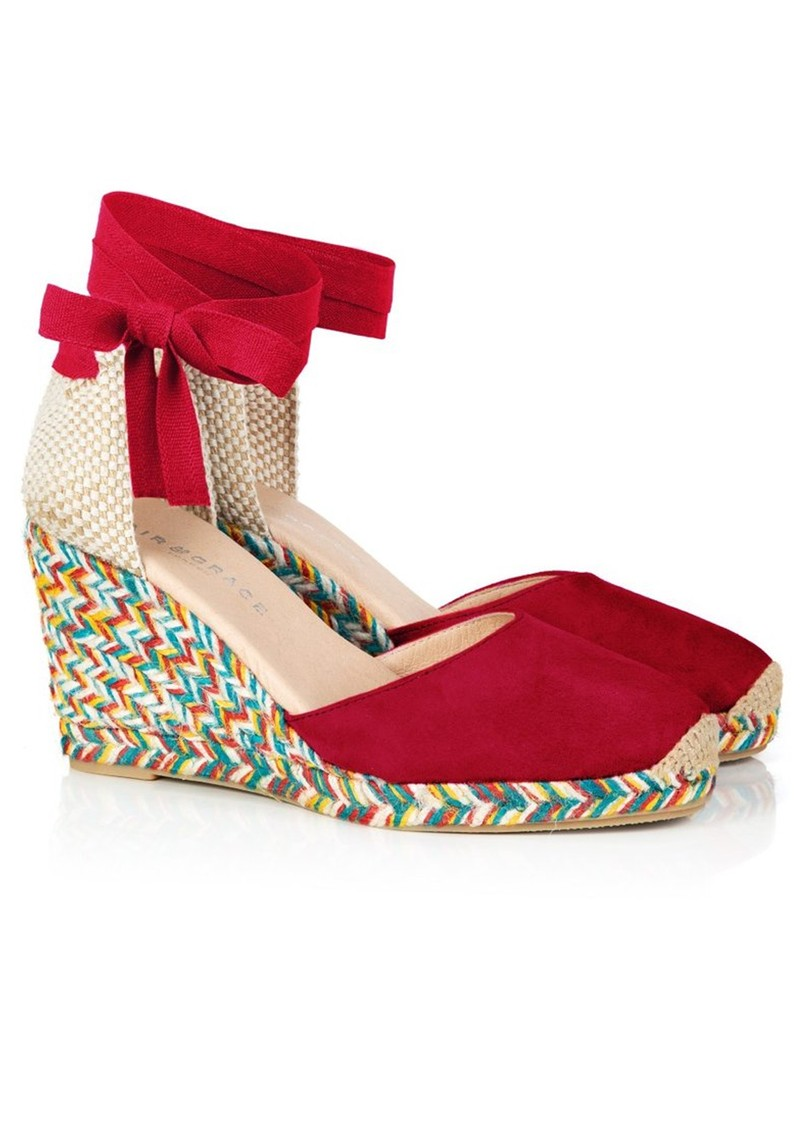AIR & GRACE Shimmie Espadrille Wedge - Red & Multi main image