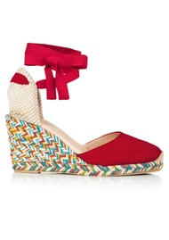 AIR & GRACE Shimmie Espadrille Wedge - Red & Multi