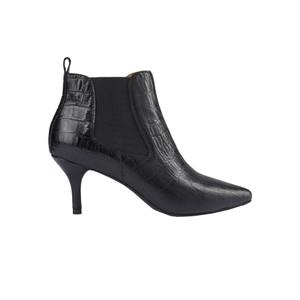 Agnete Croco Leather Chelsea Boot - Black