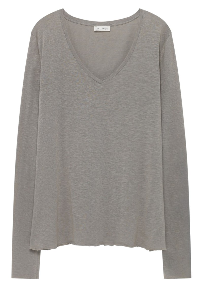 American Vintage Kobibay Long Sleeve Tee - Heather Grey main image