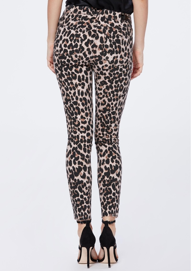 Paige Denim Hoxton Ankle Skinny Jeans with Raw Hem - Pink Leopard main image
