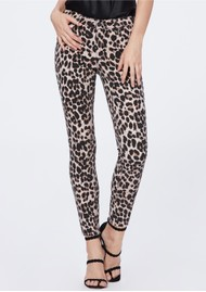 Paige Denim Hoxton Ankle Skinny Jeans with Raw Hem - Pink Leopard