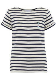 MAISON LABICHE Sailor Short Sleeve Love Me Not Tee - Ivory Navy